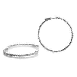 14k White Gold 1ct TDW Large Diamond Hoop Earrings (H-I, SI1-SI2)