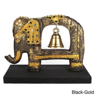 Handmade Jeweled Elephant Sculpture Rain Tree Wooden Brass Bell (Thailand)