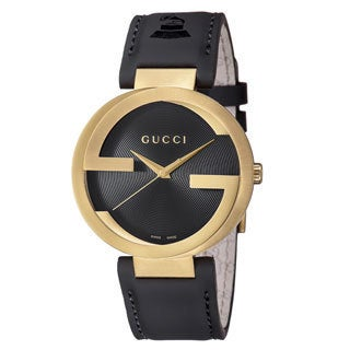 Gucci Men's YA133208 'Grammy XL' Black Dial Black Leather Strap Special Latin Watch