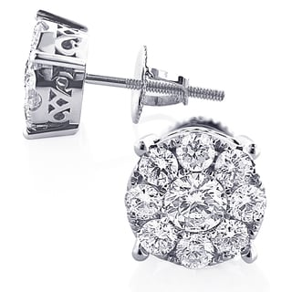 Luxurman 14k White Gold 1 1/5ct Round Diamond Cluster Earrings Studs (G-H, VS1-VS2)