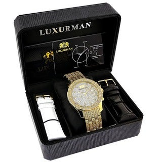 Luxurman Men's Yellow Goldtone 1-carat Diamond Watch