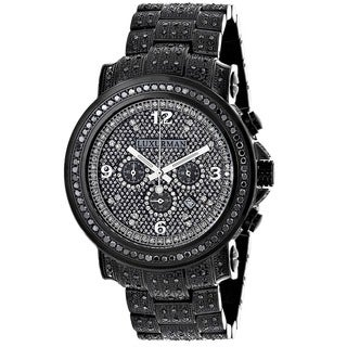 Luxurman Men's Fully Iced Out 4.25ct Oversized Black Diamond Watch with Metal Band and Extra Leather Straps