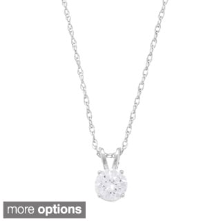 14k Yellow Gold Round Diamond Solitaire Necklace (H-I SI)