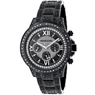 Luxurman Men's Iced Out 3-carat Black Diamond Watch
