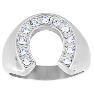West Coast Jewelry Stainless Steel Men's Crystal Horeshoe Ring