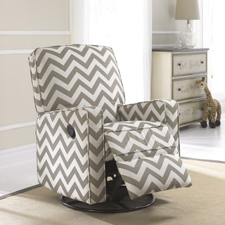 Crawford Taupe and Cream Fabric Modern Nursery Swivel Glider ...