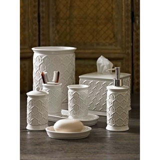 Embossed Porcelain Bath Accessory Collection