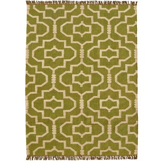 Hand-woven Green Jute/Wool Flat Weave Rug (8' x 11')