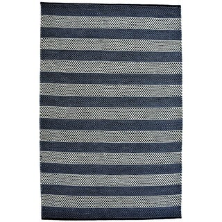 Hand-woven Blue Contemporary Tie Die Rug (4' x 6')