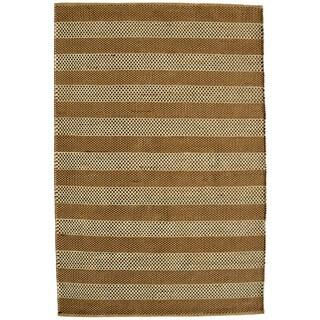 Hand-woven Beige Contemporary Tie Die Rug (4' x 6')