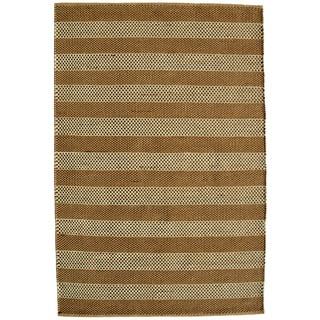 Hand-woven Beige Contemporary Tie Die Rug (8' x 11')