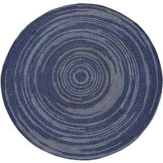 Hand-woven Blue Abrush Braided Jute Rug (8' x 8' Round)