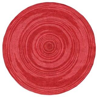 Hand-woven Rose Abrush Braided Jute Rug (6' x 6' Round)