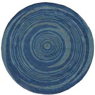 Hand-woven Blue Abrush Braided Jute Rug (6' x 6' Round)
