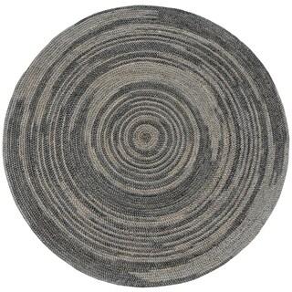 Hand-woven Grey Abrush Braided Jute Rug (8' x 8' Round)