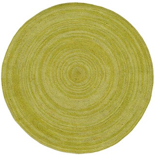 Hand-woven Green Abrush Braided Jute Rug (8' x 8' Round)