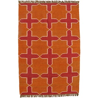Hand-woven Orange Jute/Wool Flat Weave Rug (5' x 8')