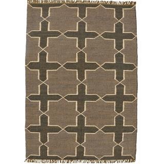 Hand-woven Grey Jute/Wool Flat Weave Rug (8' x 11')