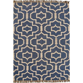 Hand-woven Blue Jute/Wool Flat Weave Rug (5' x 8')