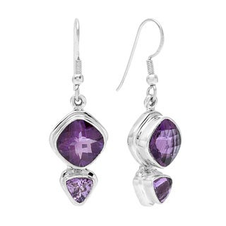 Sterling Silver Amethyst Dangle Earrings