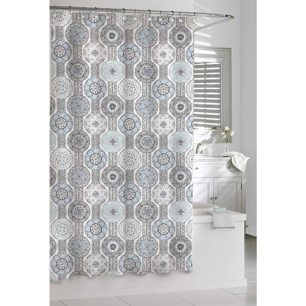 mosaic blue and grey shower curtain 16181858 overstock