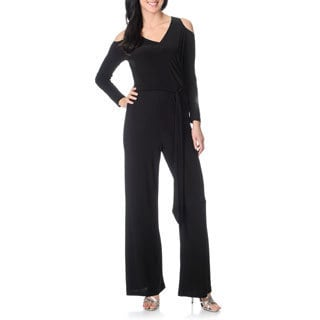 Betsy & Adam Women's Black Long-sleeve Jumpsuit