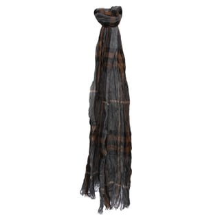Burberry Nickel Brown Check Cashmere and Merino Crinkled Scarf