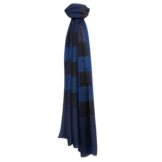 Burberry Bright Cobalt Mega Check Satin Silk Scarf