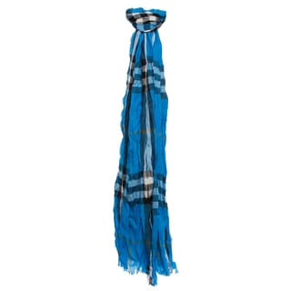 Burberry Bright Opal Check Cashmere and Merino Crinkled Scarf