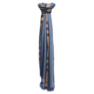 Burberry Steel Blue Haymarket Check Border Scarf