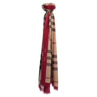 Burberry Red and Haymarket Check Border Scarf