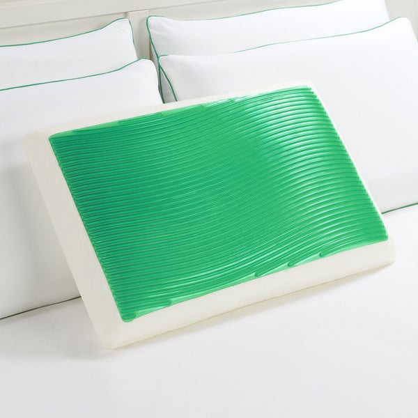 Comfort Memories Green Wave Memory Foam and Gel Pillow