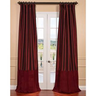 Syrah Taffeta and Velvet Banded Curtain Panel