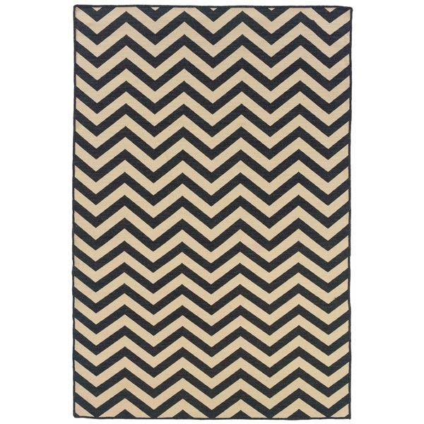 Linon Foundation Collection Grey Chevron Reversible Rug (5 x 8)
