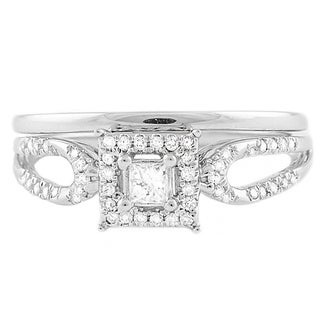 Beverly Hills Charm 14k White Gold 1/4ct TDW Halo Princess Bridal Set (H-I, SI2-I1)