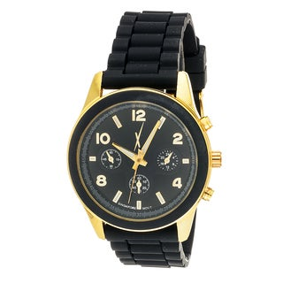 Xtreme Time Women's Round Rubber Black Sport Goldtone Watch