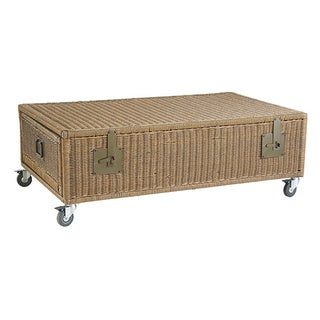 Rolling Wicker Trunk Coffee Table