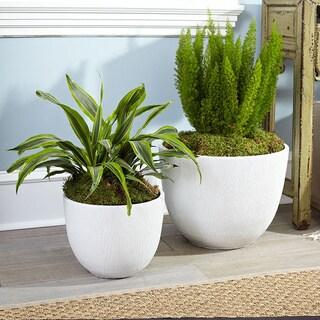 Resin Woodgrain Planter Pots