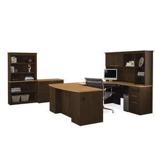 Hatley by Bestar U-shaped Desk with Lateral file and Bookcase