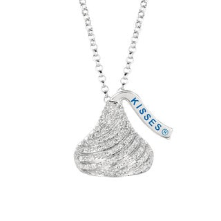 Sterling Silver 1/8ct TDW Diamond Hershey's Kiss Necklace (H-I, SI1-SI2)