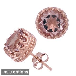 Gioelli Rose Gold over Silver 8mm Round-cut Simulated Morganite Tiara Earrings