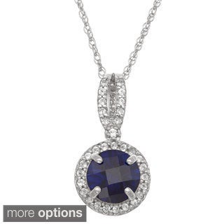 Gioelli Sterling Silver Created Gemstone and Created White Sapphire Accent Pendant Necklace