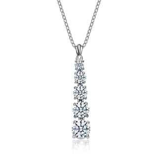 Collette Z Sterling Silver Cubic Zirconia Graduated Style Journey Necklace
