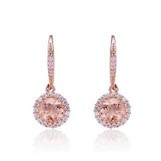Collette Z Sterling Silver Cubic Zirconia and Light Orange Glass Dangle Earrings