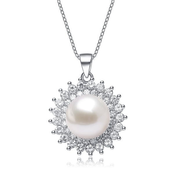 Collette Z Sterling Silver Cubic Zirconia White Freshwater Pearl Necklace