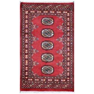 Pakistani Hand-knotted Bokhara Red/ Ivory Wool Rug (2' x 3'5)