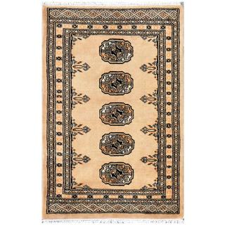 Pakistani Hand-knotted Bokhara Tan/ Gold Wool Rug (2' x 3'2)