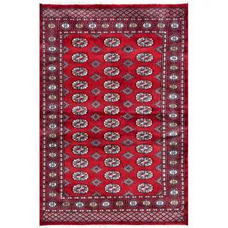 Herat Oriental Pakistani Hand-knotted Bokhara Red/ Ivory Wool Rug (4' x 5'11)