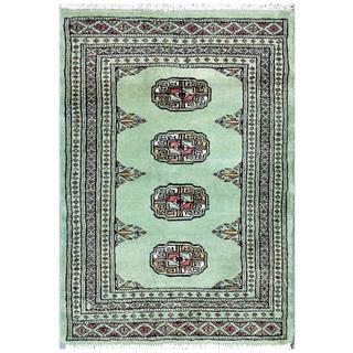 Pakistani Hand-knotted Bokhara Green/ Gold Wool Rug (2' x 2'11)