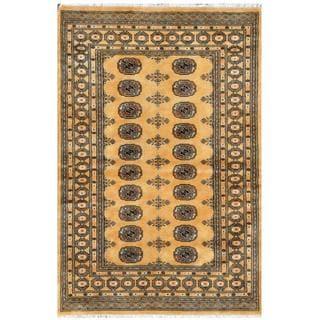 Herat Oriental Pakistani Hand-knotted Bokhara Gold/ Ivory Wool Rug (4' x 6'3)